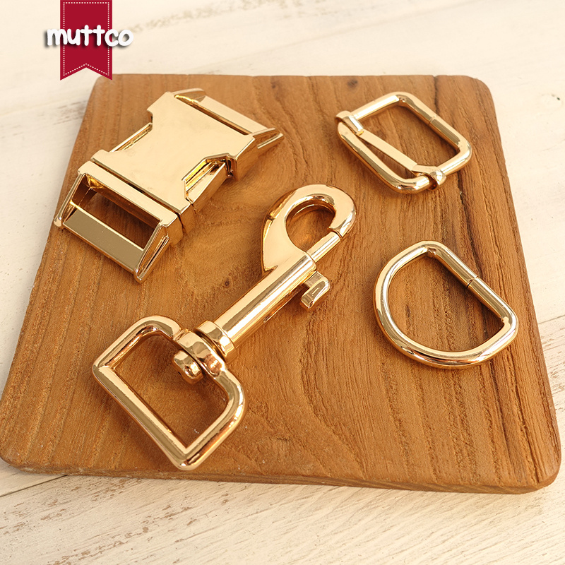 (metal Buckle+adjust Buckle+D Ring+metal Dog Clasp/set) Retailing Environmental Golden Accessory 25mm Metal DIY Dog Accessories
