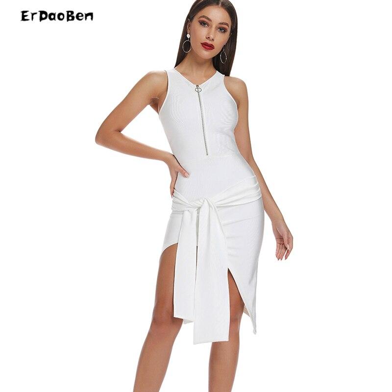 ERDAOBEN Новинка 2019 года летние белые красное повязное платье Вечеринка платья для женщин пикантные Клубные платье Vestidos H5787