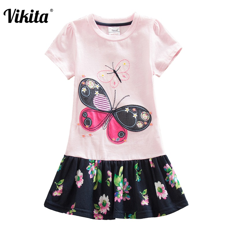 VIKITA 4-8Y Girls Dress Children Dresses Flower Tutu Princess Kids Dresses Clothing Summer Clothes Girls Floweral Dress SH5460 iyeal kids dresses for girls clothes purple flower princess dress 2017 girls summer dress children clothing vestido princesa