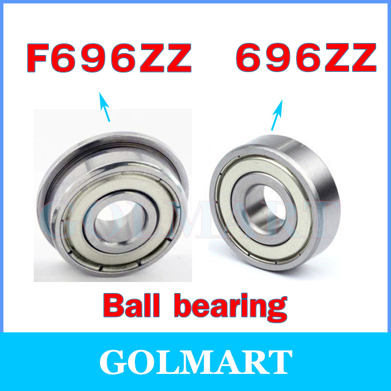 10pcs F696ZZ 6*15*5 mm Flange Ball Bearing Metric Flanged Bearing
