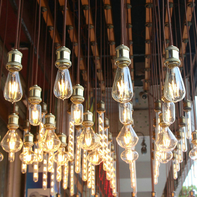 Online shop retro st64 edison bulb chandelier pendant lights retro st64 edison bulb chandelier pendant lights squirrel cage filament e27 40w edison lamp lampada incandescent bulb rope light aloadofball Gallery