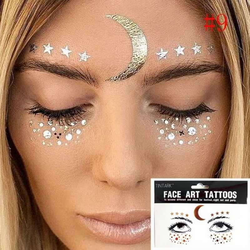 1pack Face Tattoo Sticker Bling Bling Jewelry Face Eyes stars moon freckle Beauty Makeup Sticker Body Art Paint Temporary Tattoo