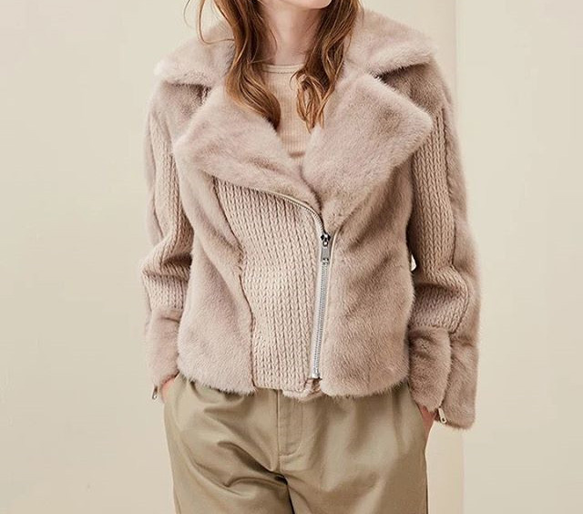 Real Mink Fur Jacket With Wool Designer With Zipper With Wool Back With Fur Cuffs Collar Suit Casual  Short Coat Beige Color