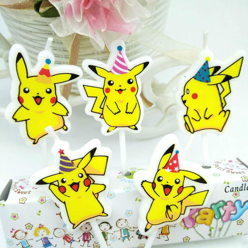 5pcs/set Happy Birthday Candles Decorations Pokemon GO Lovely Pikachu Cake Bougies Baby Shower Party Cake Supplies