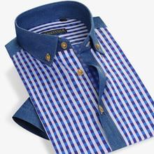 Летняя Стильная мужская рубашка в клетку, хлопковое платье с короткими рукавами, рубашка, Повседневная приталенная, известная брендовая Мода, большие размеры 4XL, высокое качество