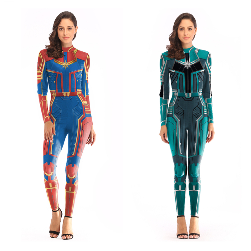 High Quality Captain Marvel Cosplay Costumes Women Girls Superhero Carol Danvers Zentai Jumpsuits Bodysuits Suit 2019 New