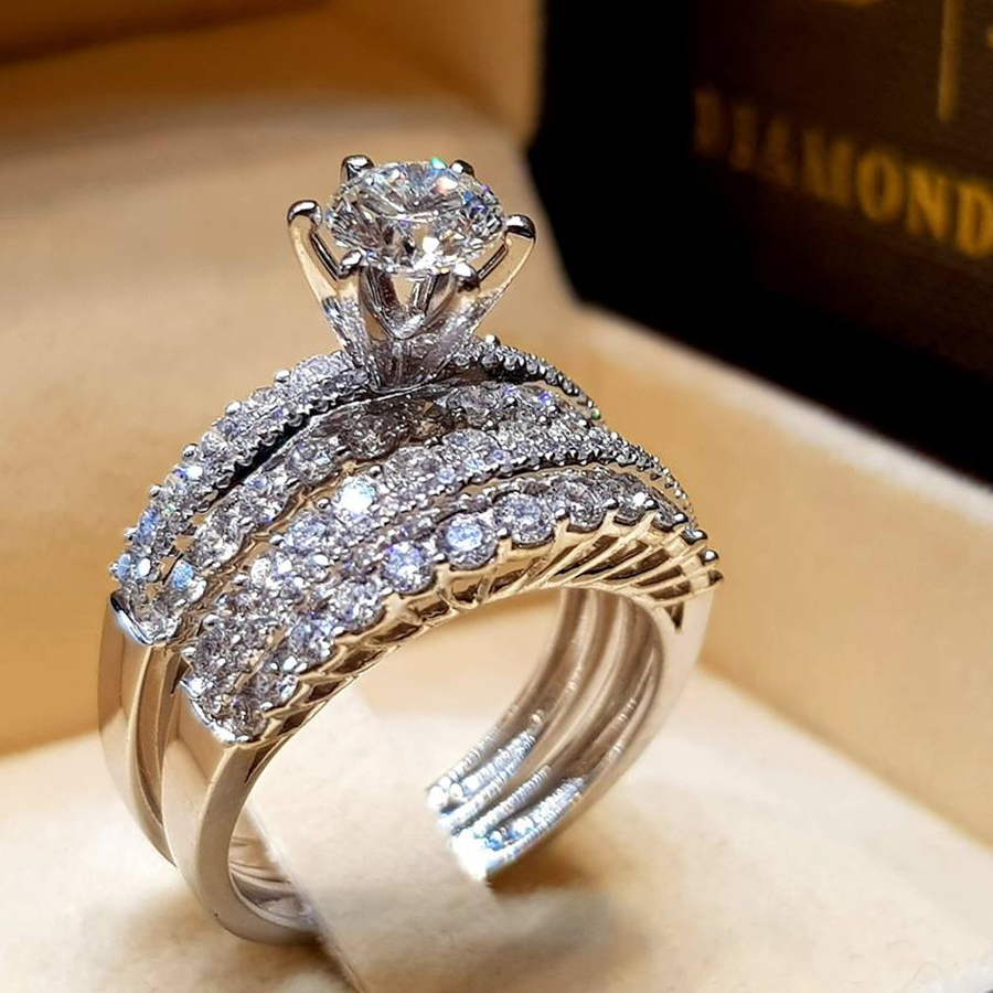 T-Jewelry Fashion Luxury Zircon Rings Silver Color Rings Jewelry For Women Wedding Rings