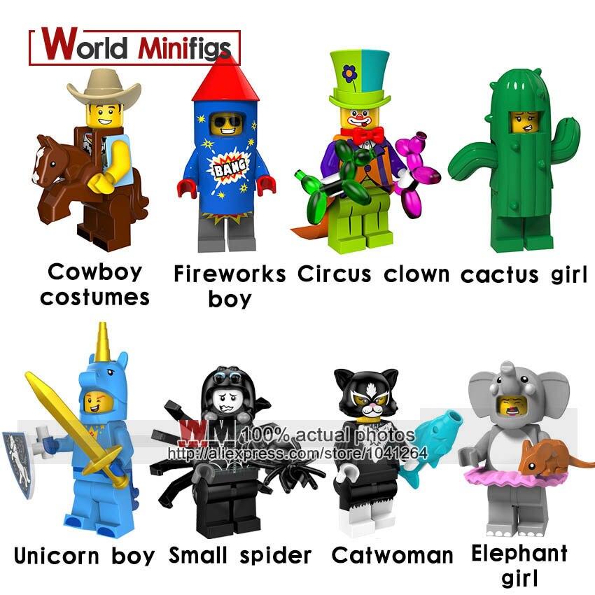 20 Stks/partij Super Heroes Serie Kostuum Cowboy Vuurwerk Jongen Circus Clown Cijfers Bouwstenen Speelgoed Voor Kinderen Goede Metgezellen Voor Kinderen Evenals Volwassenen