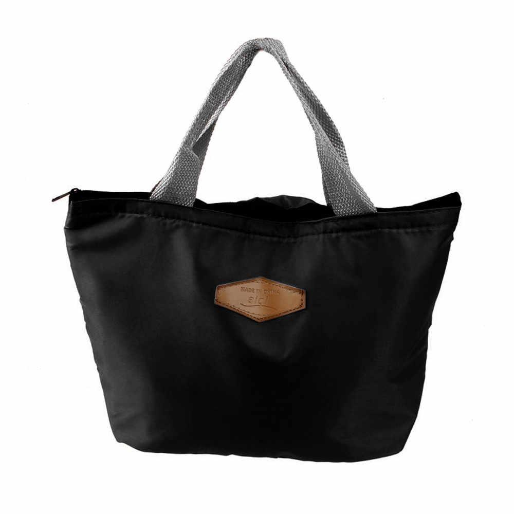 2019 saco de almoço portátil à prova dwaterproof água isolado oxford sólido piquenique carry caso lancheira térmica bolsa termica preto