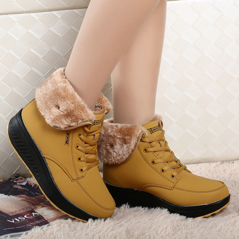 Fur warm wedges women snow boots fashion platform women winter shoes Waterproof causal leather ladies ankle boots Hot DBT1061