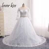 Lover Kiss Luxury Vintage Large Size Long Sleeves Wedding Dresses Ball Gown Tulle Appliques Bridal Gowns Robe De Mariage 2018