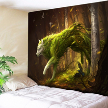Green Hair Ferocious Wild Wolf Tapestry Animal Wall Hanging Tapestries Psychedelic Big Hippie Carpet Bedside Blanket Throw
