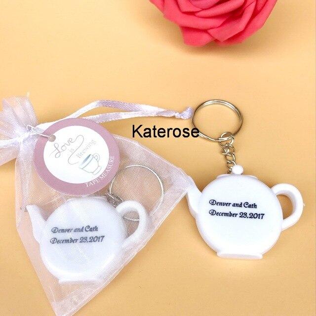 FREE SHIPPING(100pcs/Lot)+Love is Brewing Mini Teapot Measuring Tape Keychain Customized Logo Wedding Key Chain Promotional