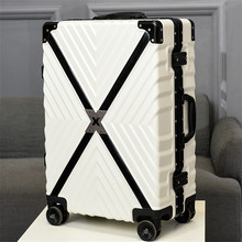 ZYJ Retro X Striped Travel Trolley Luggages Aluminum Frame Alloy Business Rolling Luggage Airplane Suitcase Spinner Wheels