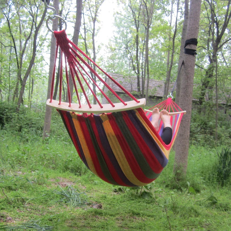 260*150cm 1 Or 2 Person Outdoor Hammock Swing New Wood Stick Canvas Double Indoor Thickening Widened Double Hammock DC99-2