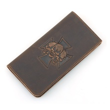 Crazy Horse Leather Billfolds Wallet Hot Selling 2016 Genuine Skull Pattern Long Mens 8115R