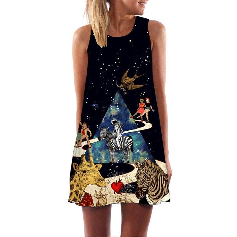 Women Summer Dress Vintage Boho Women Loose Summer Sleeveless 3D Floral Print Bohe Tank Mini Dress Casual O-neck A-Line Dress