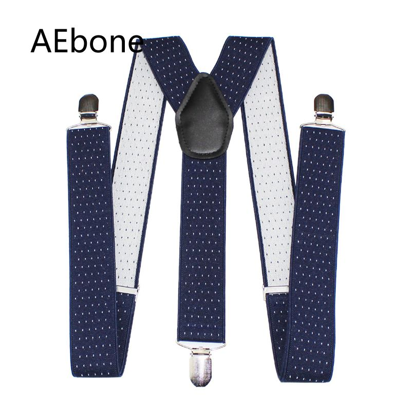 AEbone 3.5*120cm Y-sharp Suspenders Men For Pant Navy Dot Suspenders With Clip Strap Braces Man Bretels Mannen Suspensorio Sus42