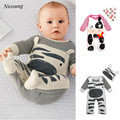 Niosung New 1Set Newborn Infant Baby Boys Girls  Animal Print Romper+Hat Jumpsuit Cotton Clothes Outfit v