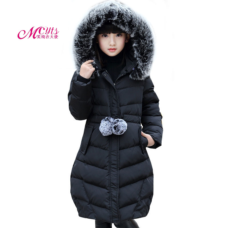 Fur Hooded Big Girls Winter Coats & Jackets Outwear Warm Long Cotton Parkas 5 7 9 11 13 15 Years Kids Clothes Cold -30 degree 2017 fashion boy winter down jackets children coats warm baby cotton parkas kids outerwears for