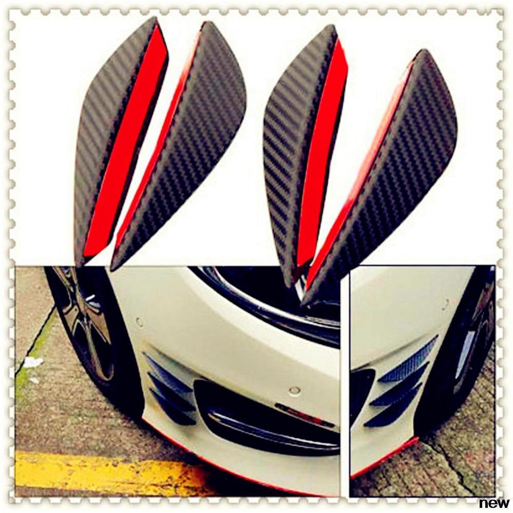 2pcs Universal Carbon Fiber Car Front Bumper Fin Splitter Spoiler Canard Valence
