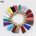 JINSE (10 pcs/lot) Suede Tassel For Keychain Cellphone Straps Jewelry Charms,13mm length, Leather Tassels With Gold Caps