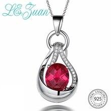 L& zuan 5.26ct подвеска с рубином и ожерелье для женщин подлинное серебро 925 пробы ожерелье красный камень белый инкрустированный цирконами ювелирные изделия