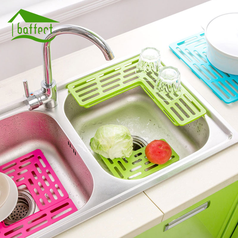 Baffect Kitchen Sink Rack Plastic Foldable Dish Cutlery Drainer Drying Holder Fruits Cup Dish Sink Rack  sc 1 st  AliExpress.com & Telescopic Kitchen Sink Dish Rack Insert Countertop Storage ...