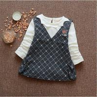 Spring new 0 - 2 - year - old girls cotton fashion T - shirt and strap dress 2 PCS / set