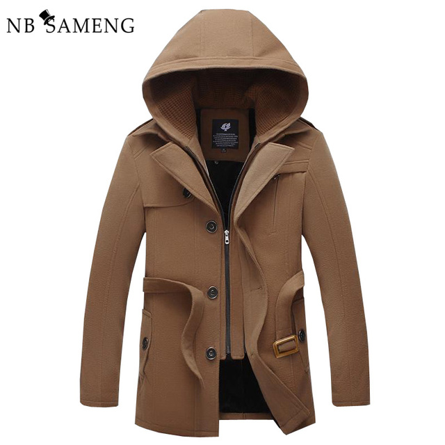 2017 New Arrival Mens Solid Overcoat Hooded Trench Coat Men Winter Casual Jacket Worsted Windbreaker Casaco Masculino 13M0317