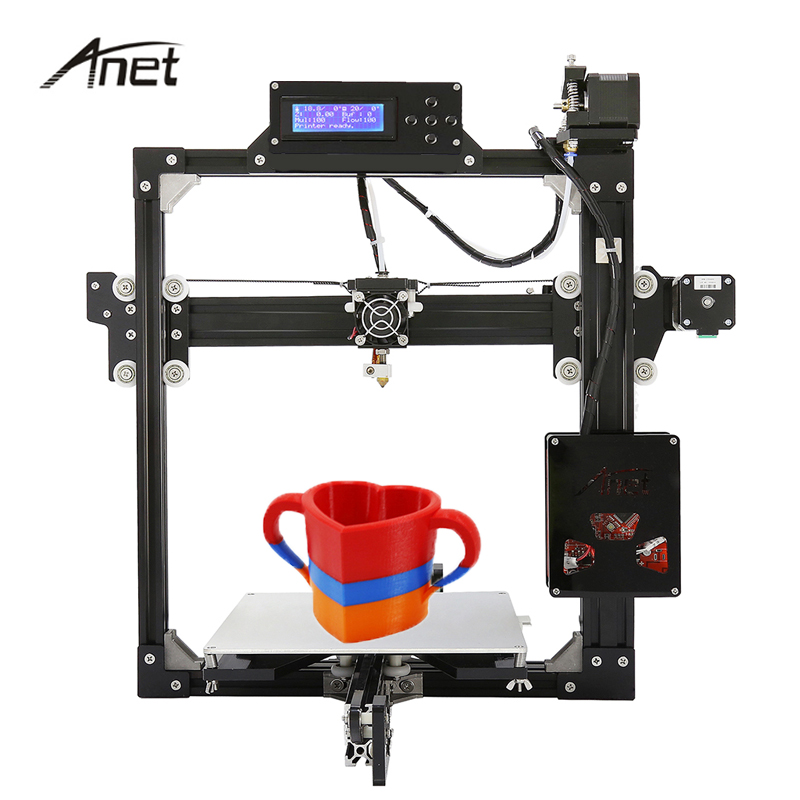 Anet Auto Level A2 Aluminium 3D Printer High Precision Reprap Prusa i3 DIY 3D Printer Kit LCD2004 Screen with Filaments SD Card anet a2 metal lcd2004 220 220 220 220 270 220mm option 3d printer diy prusa i3 3d printer kit with free 10m filaments