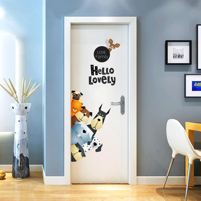 Cartoon Dogs Wall Stickers Lovely Family Vinyl Decals for Door Children Room Home Decor Door Sticker PVC Wall Decals/Adhesive Солдат