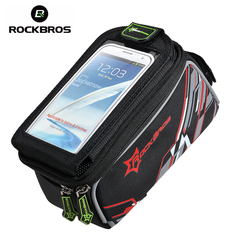 ROCKBROS Waterproof MTB Bike Bicycle Front Top Frame Handlebar Bag Cycling Pouch Touchscreen Panniers Reflective Bags 2 Sizes 2017 mtb mountain bike bag waterproof bycicle handlebar bags road bicycle camera bag panniers sport cycling front basket pouch