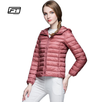 Fitaylor New Women Spring Autumn Ultra Light Down Coat Casual Duck Down Hooded Jacket Short Design