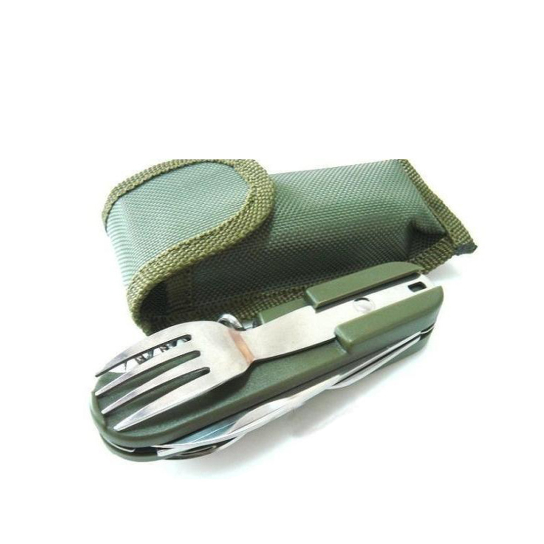 Kamp Malzemeleri Army Green Folding Portable Stainless Steel Camping Picnic Cutlery Knife Fork Spoon Bottle Opener