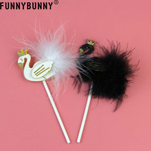 FUNNYBUNNY 2pcs Topper Black Cute Lovely Beautiful Feather Cake Picks for Decoration