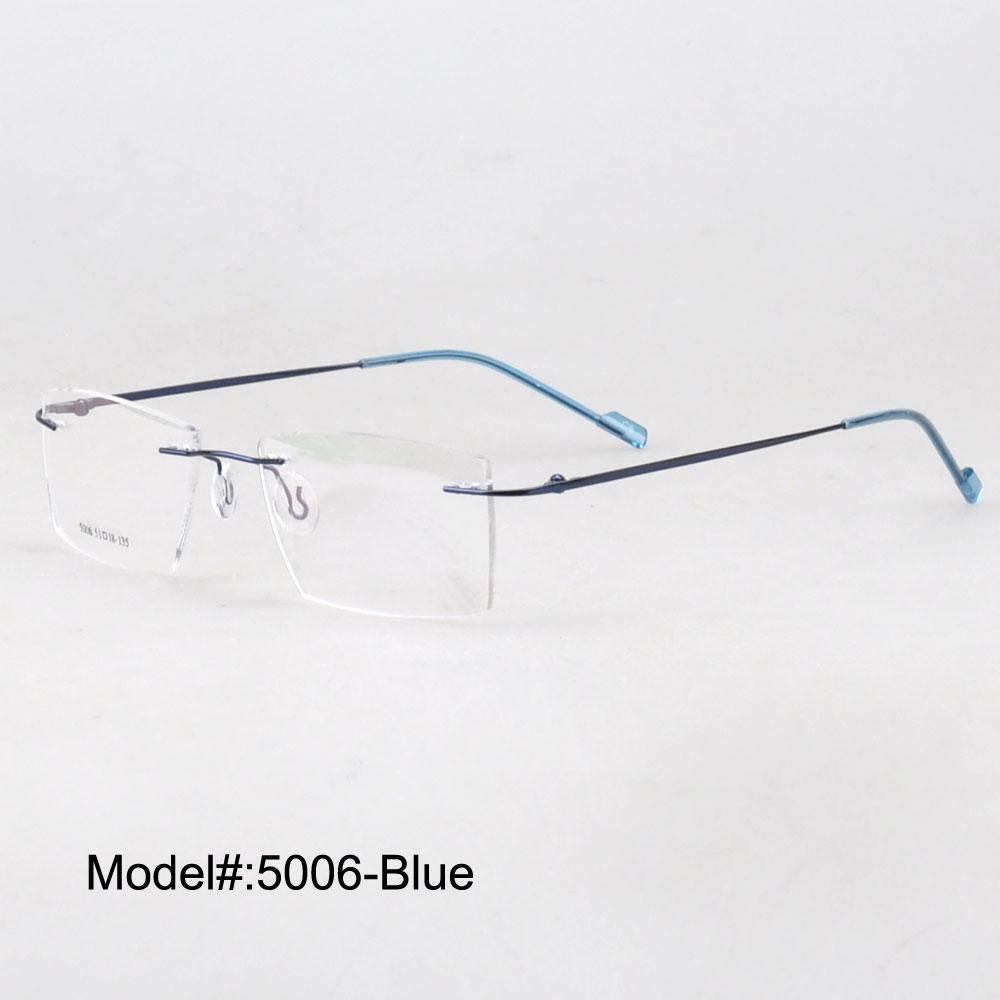 b46901c573d2 Magic Jing rimless memory metal hinged RX optical frames prescription  spectacles myopia eyewear eyeglasses for men 5006