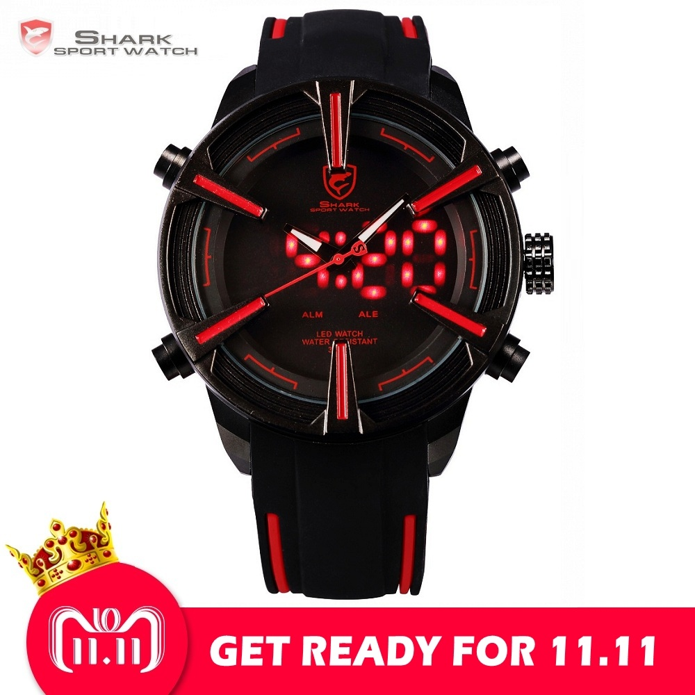 Dogfish SHARK Sport Watch Hot Digital Red LED Calendar Alarm Military Mens Fashion Silicone Strap Wristwatches Clock Gift /SH384 цена и фото
