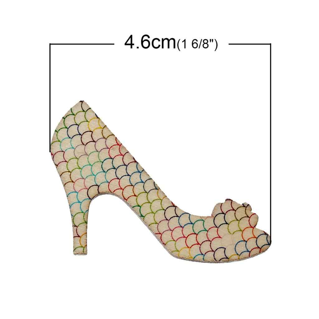 DoreenBeads Wood Cabochons Scrapbooking Embellishments Findings High-heeled Shoes At Random Fish Scale4.6cmx3.3cm,4 Pieces
