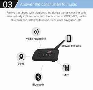 Image 3 - EJEAS V6 Pro Intercom Helmet Bluetooth Headset 850mAh Intercomunicador Microphone Metal Clamp MP3 GPS 1200m For 6 Riders