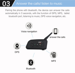 Image 3 - Ejeas V6 Pro Intercom Helm Bluetooth Headset 850Mah Intercomunicador Microfoon Metalen Klem MP3 Gps 1200M Voor 6 Riders
