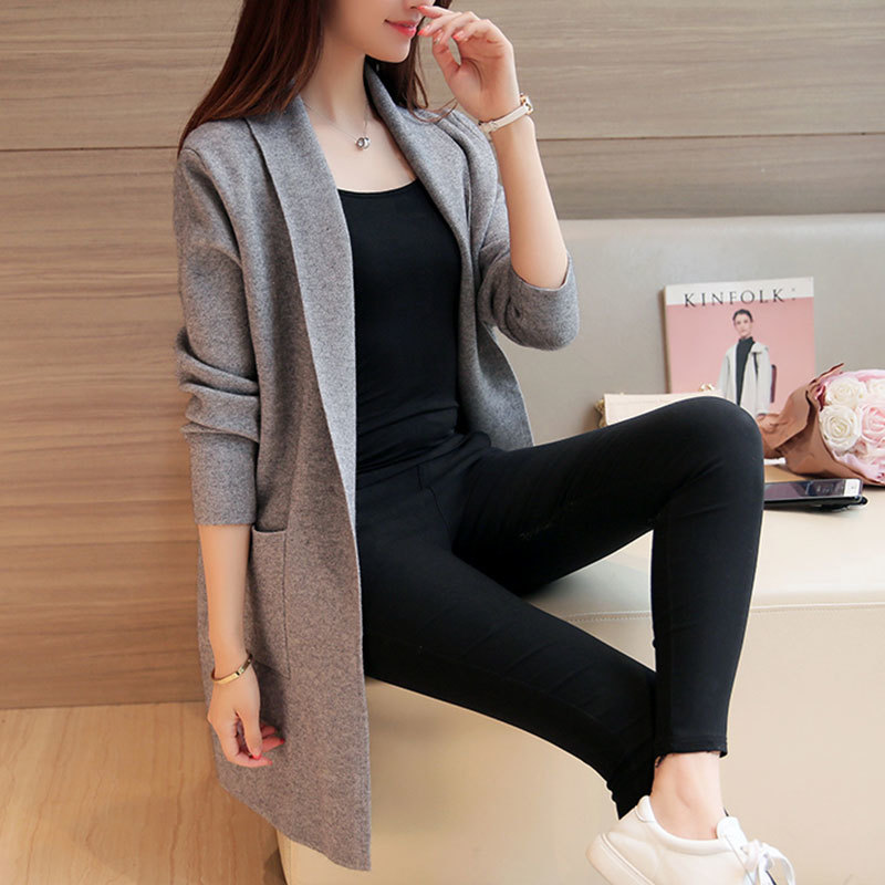 Automne Femelle gray Red Tricot Manches Longues Femmes Printemps Long Lady F373 2019 Cardigan Pull Femme Black roses Tricoté Survêtement wine Poches HED2I9