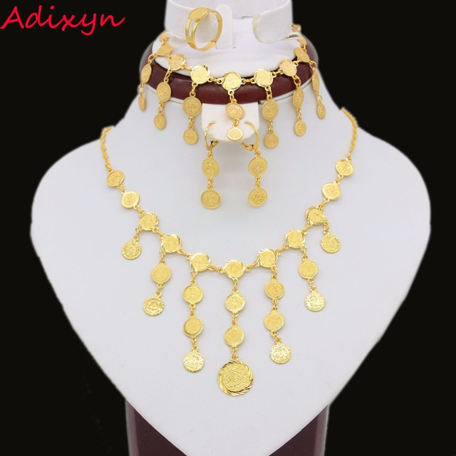 Ethiopian Coin Jewelry Set Pendant Earrings Bracelet Necklace Ring Gold Color