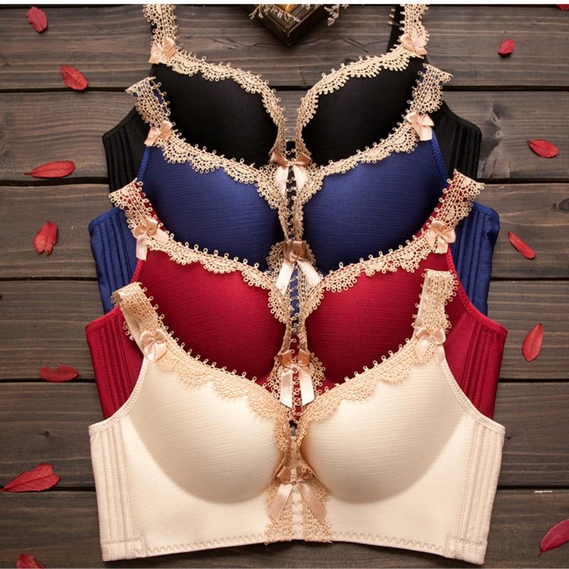 Buy Fashion Ladies Seamless Lingerie Women Deep V Sexy Lace Bra Set Push Bra Panty Sets Women Underwear Set Women Intimates