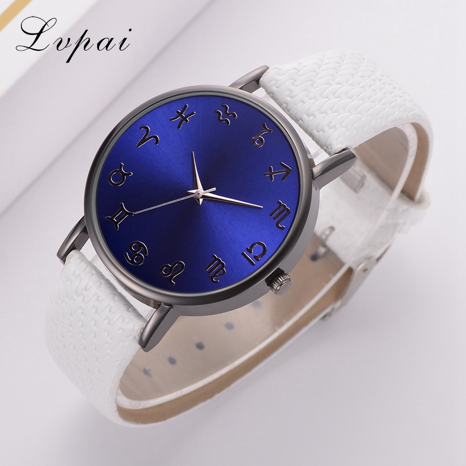 Lvpai Top Brand Watches Women Fashion Luxury Leather Strap Watch Blue constellations Dial Creative Clock Sport Quartz Watch Gift fashion large dial casual creative leather quartz sport watch