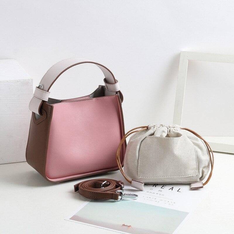 2019 nuevo de cuero de bolsa, bolsas de mensajero para mujeres, Vintage bolsos de hombro bolsas mujer Cruz cuerpo suave Casual bolsas de compras-in Cubos from Maletas y bolsas    3
