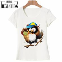 Women T Shirt owl captain Printed Fashion Design T-Shirt Women Brand New Slim Fitness Tshirt Women Clothes HH261(China)