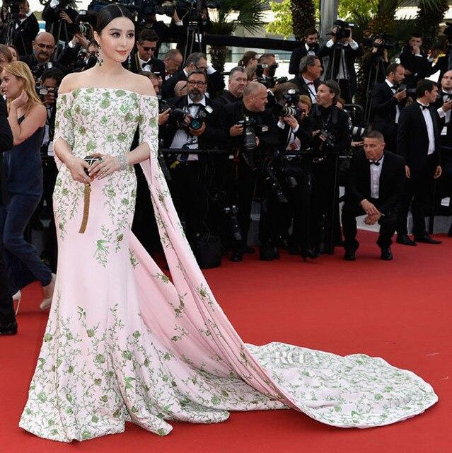 2017 Fan Bingbing Celebrity Vestidos de Manga Larga con Bordado Verde Sirena Vestido de Noche 68o Festival de Cine de Cannes Caliente
