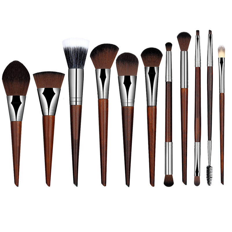 11pcs Makeup Brushes Set Foundation Powder Blending Blush Brush Red Wood Color High Quality Make Up Cosmetic Beauty Tools Kit 12 red blush