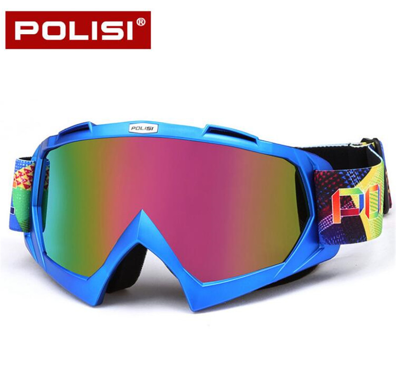 POLISI Motorcycle Motocross Off-Road Goggles Ski Snowboard Snow Eyewear Dirt Bike Downhill Anti-Fog Goggles